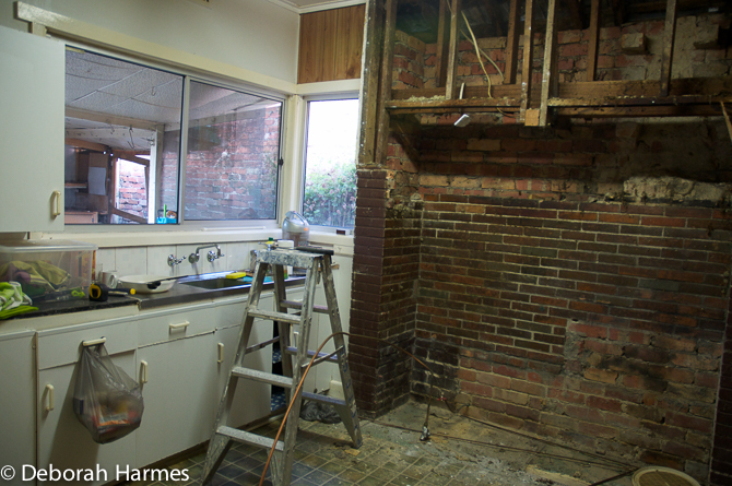 Gutting the kitchen before the total rebuild.