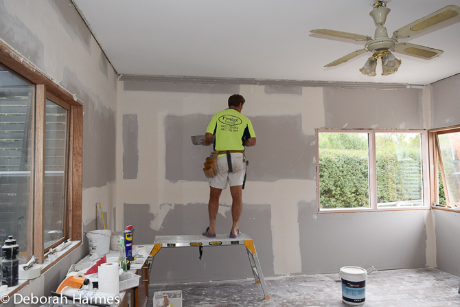 New plasterboard and plaster mouldings being installed.