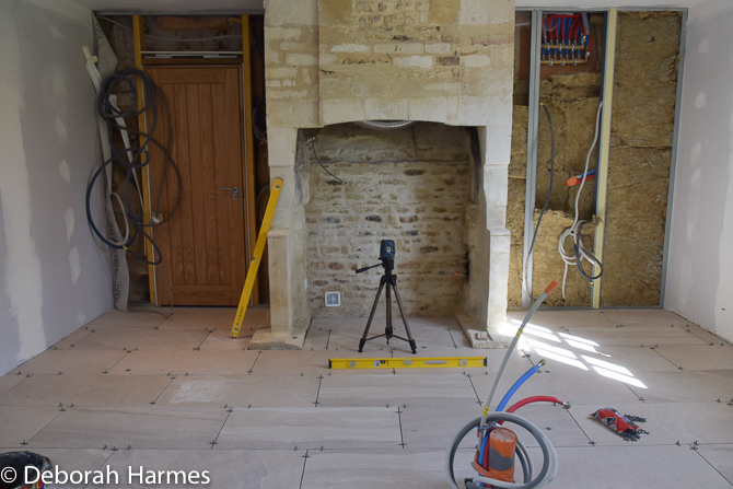 Kitchen floors going down on 18 April 2017 and fire door between 1400s building and 1800s building now installed.